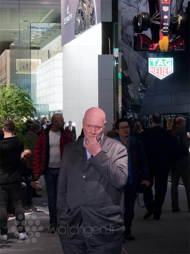 Jean-Claude Biver pensif, quelques minutes avant de donner une interview le 16 mars, à Baselworld.