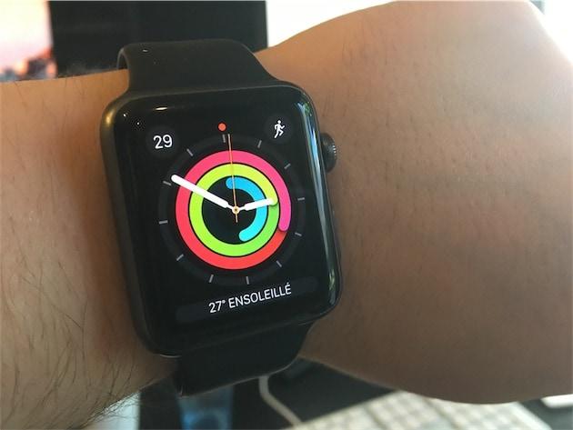 L'un des nouveaux cadrans livrés avec watchOS3, où les cercles d'activité sont à l'honneur.