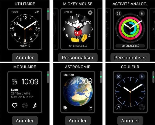 Quelques-uns des cadrans proposés par Apple.