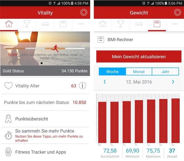 L'app mobile, ici sur Android, proposée par Generali aux clients allemands qui souhaitent participer au programme.