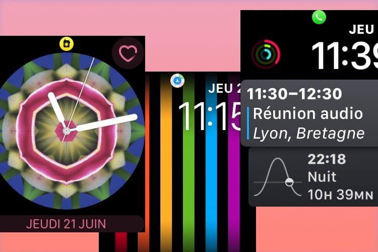 Les petites icônes de watchOS 5 en haut du cadran de l'Apple Watch